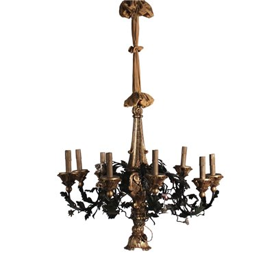 Chandelier Iron and Wood Italy 20th Century