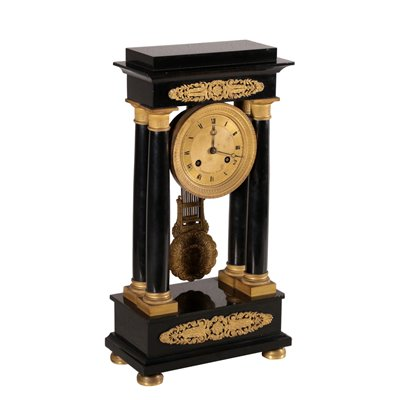 Temple Clock, Stiennon à Paris Bronze and Marble France 19th Century