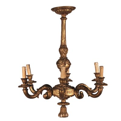 Chandelier, Gilded Wood Italy 20th Century