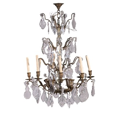 12 Light Spots Chandelier Bornze and Glass Italy 19th Century