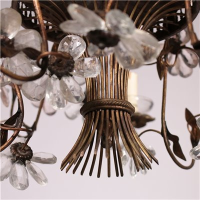6 Arms Chandelier, Brass and Glass Italy 20th Century