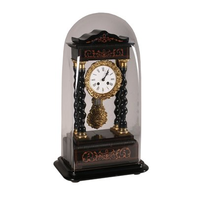 Temple Clock with Shrine, Ebony and Gilded Bronze France 19th Century