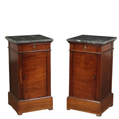 Pair of Empire Bedside Tables Walnut and Marble Italy 19th Century