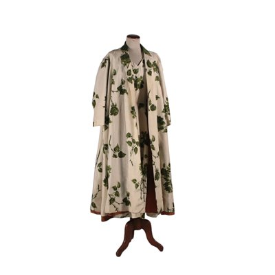 Vintage Silk Dress with Floral Pattern and Overcoat 1950s