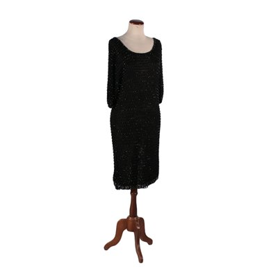 Vintage Black Dress with Small Pearls Italy 1960s