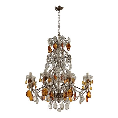 Eight Arms Chandelier, Iron and Glass Italy 20th Century