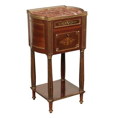 Center Bedside Table, Mahogany Marble and Brass France 19th Century