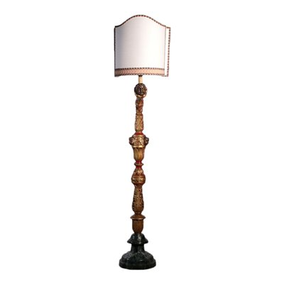 Floor LAmp, GIlded and Lacquerd Wood Italy 20th Century