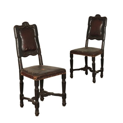 Pair of Baroque Chairs Walnut 17th-18th Century