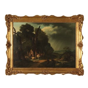 Landscape with Shepherds and Herds, Oil on Canvas, 1842