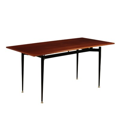 Table, Mahogany Veneer and Metallic Enamelled, Italy 1960s