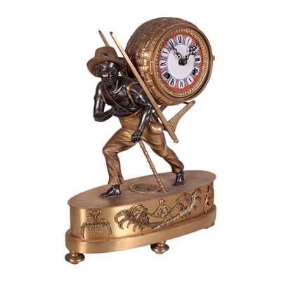 Table Clock with Dark-Haired Kid, Bronze and Iron, 20th Century