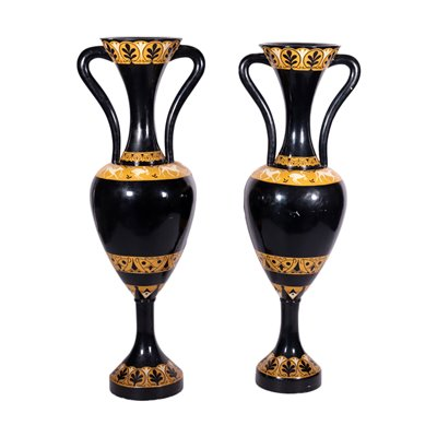 Pair of big Amphoras, Lacquered Wood, Italy 20th Century