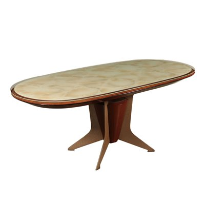 Table, Veneer Wood Metal Back-Treated Glass, Italy 1950s-1960s