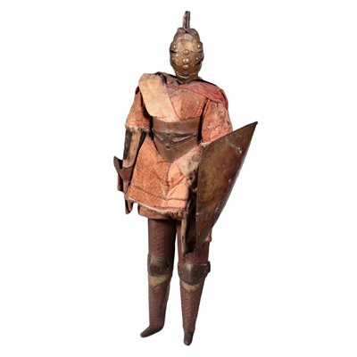 Ancient Sicilian Puppet, Wood Fabric Bronze, Italy 18th-19th Century