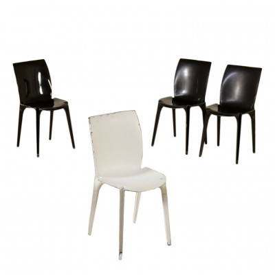 Set of Four Chairs by Marco Zanuso Metal Sheet Vintage Italy 1960s Vintage Modernism Chairs
