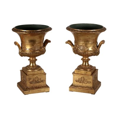 Pair of Vases, Gold Leaf, Italy 19th Century