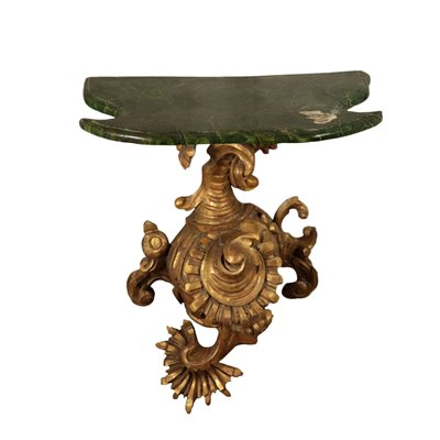 Baroque Style Console, Bronze and Linden, Italy 20th Century