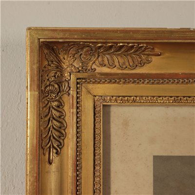 Pair of Frames with Printings, Wood, Italy 19th Century