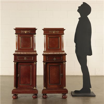 Pair of Empire Style Bedside Tables Mahogany Marble 20th Century