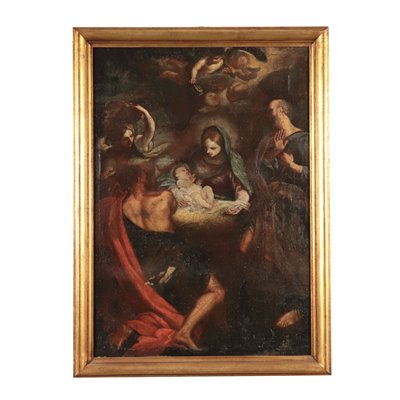 Adoration of Shepherds Oil on Canvas Center of Itay 17th Century