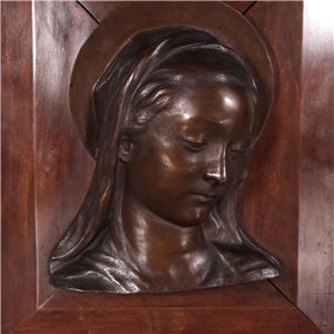 Bust of Virgin Mary Bronz and Solid Wood Italy 20th Century