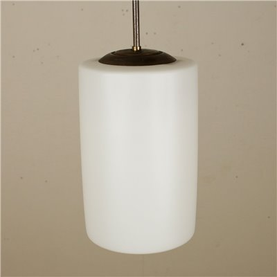 Ceiling Lamp Opaline Glass Brass Vintage Italy 1960s