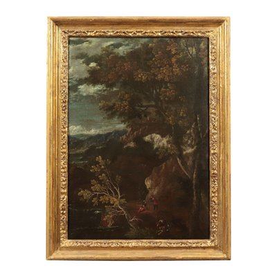 Landscape with Figure Oil on Canvas Center of Italy 17th Century