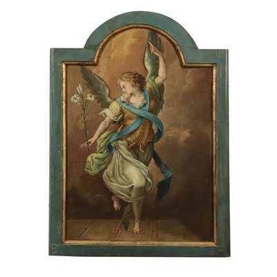 Angel Announcing Oil on Board Italian School 18th Century