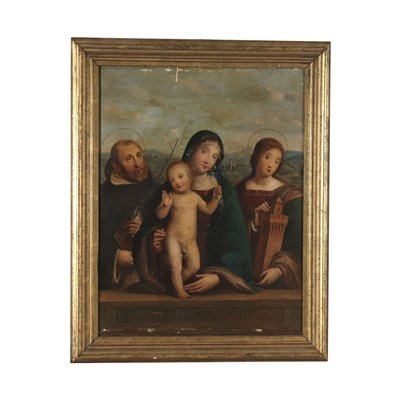 Virgin Mary with Child and Saints Oil on Board 19th Century