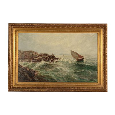 Marine Glimpse Oil on Canvas 20th Century