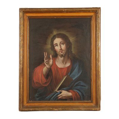 Christ Blessing Oil on Canvas Italian School 17th Century