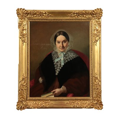 Portrait of Gaetano Negri's Wife Oil on Canvas 19th Century