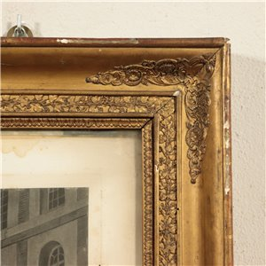 Restoration Style Frame with Printing Oil Gilding Italy 19th Century