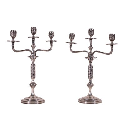 Pair Of Silver Candlesticks Italy Mid '900