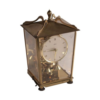 Table Clock Auug.Schatz and Sohn Brass and Glass Germany 1950s