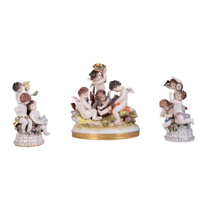 Group Of Three Capodimonte Sculptures Porcelain Italy First Half '900