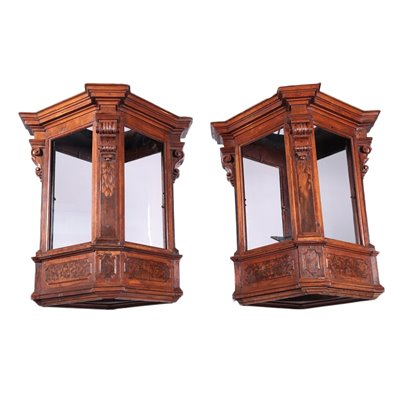 Pair of Lombard Lanterns, Walnut and Glass, Italy 17th Century