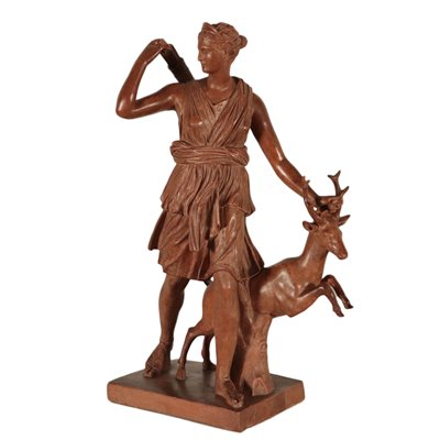 Diana The Huntress Statue Terracotta Italy Late '800 Early '900