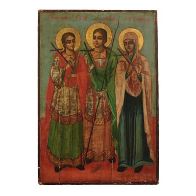 Russian Icon With Virgin And Two Saints Tempera On Panel Russia '800