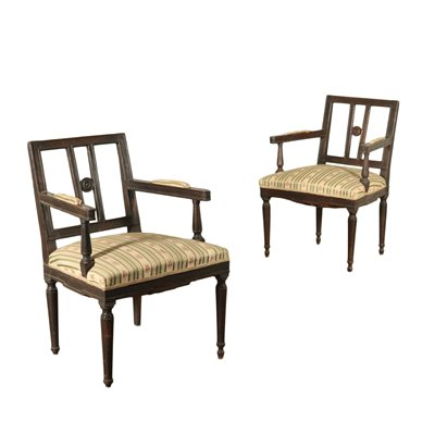 Pair Of Armchairs Direttorio Style Walnut Italy End Of 1700 Early 1800