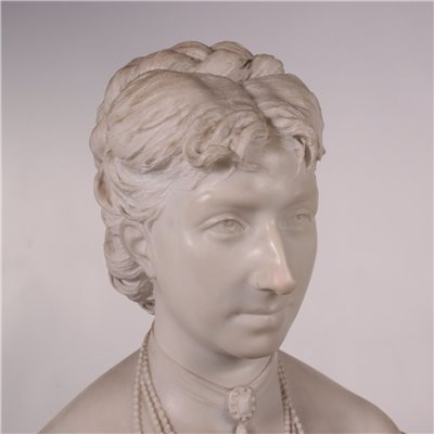 Bust Of A Woman White Carrara Marble Italy Second Half 19th Century
