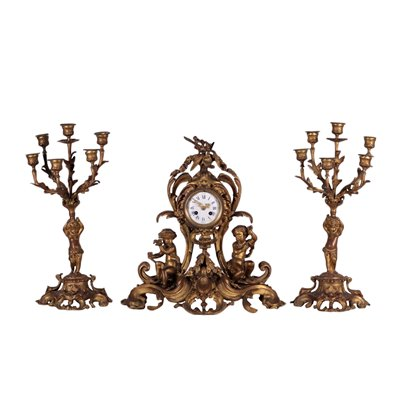 Clock Triptych Gilded Bronze France Second Half '800