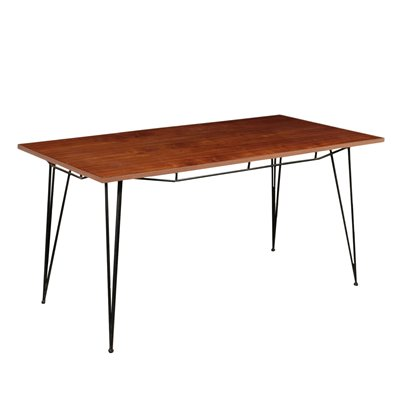 Table Mahogany Veneer Metal Polyester Italy 1960s