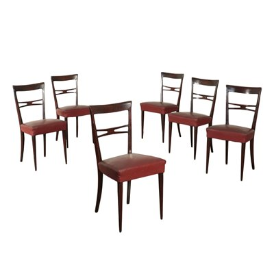 Group Of Six Chairs Ebony Wood Spring Leatherette Italy 1950s 1960s