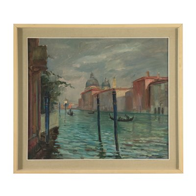 Alfonso Monfardini Venetian View Oil On Plywood 19th Century