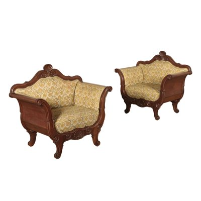 Pair of Louis Philippe Style Armchairs Walnut Italy 19th Century
