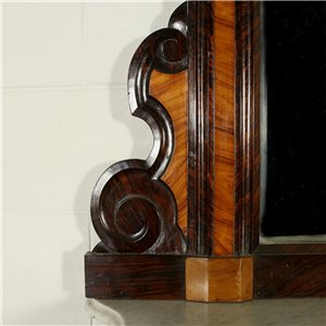 Louis Philippe Console with Mirror Walnut North of Italy 19th Century
