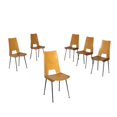 Group Of Six Chairs Plywood Enamelled Metal Italy 1960s