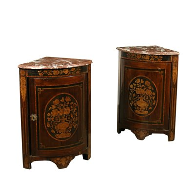 Pair of Neo-Classical Corner Cabinets Italy 19th Century